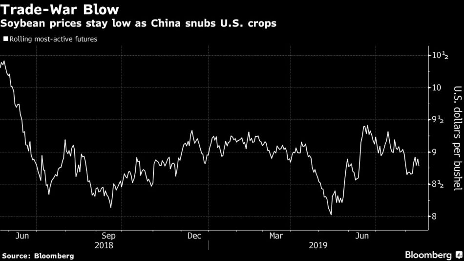 Soybean prices stay low as China snubs U.S. crops