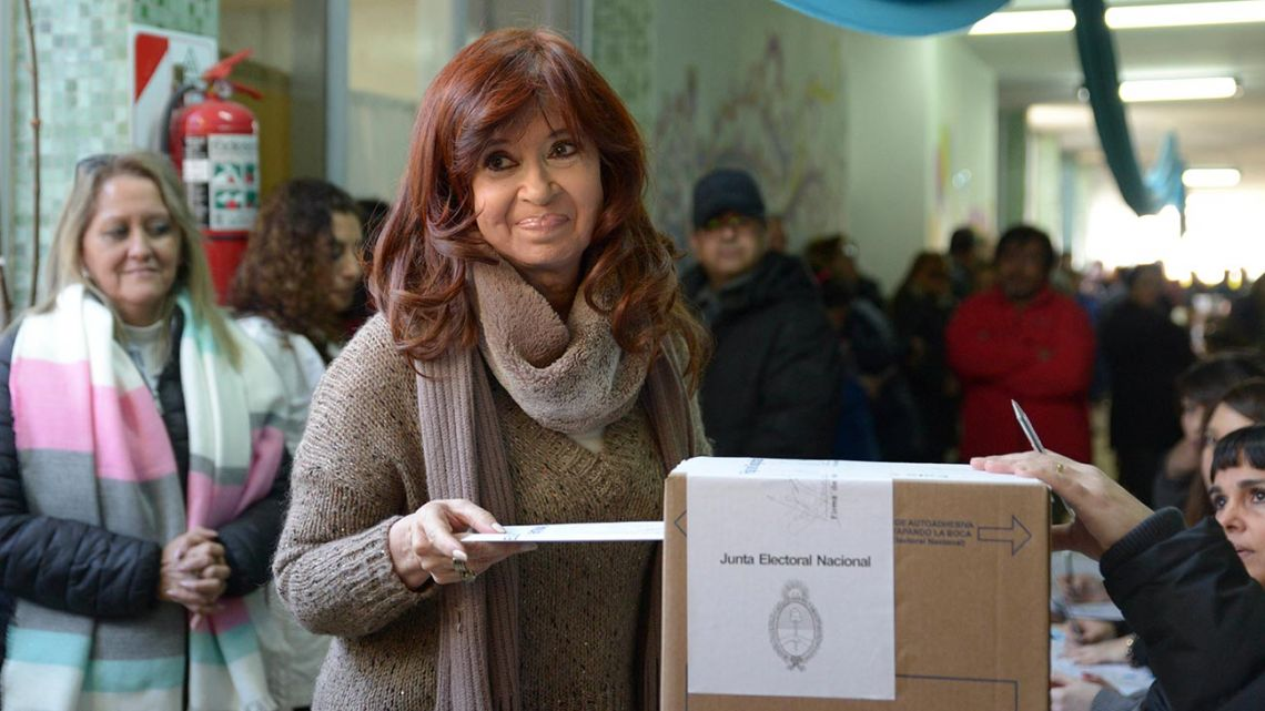 In this picture provided by Frente de Todos, former president Cristina Fernández de Kirchner prepares to cast her vote in PASO primary elections in Río Gallegos.