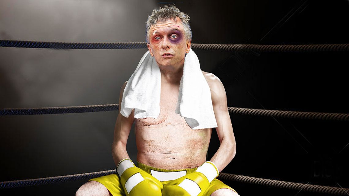 A defeated Macri.