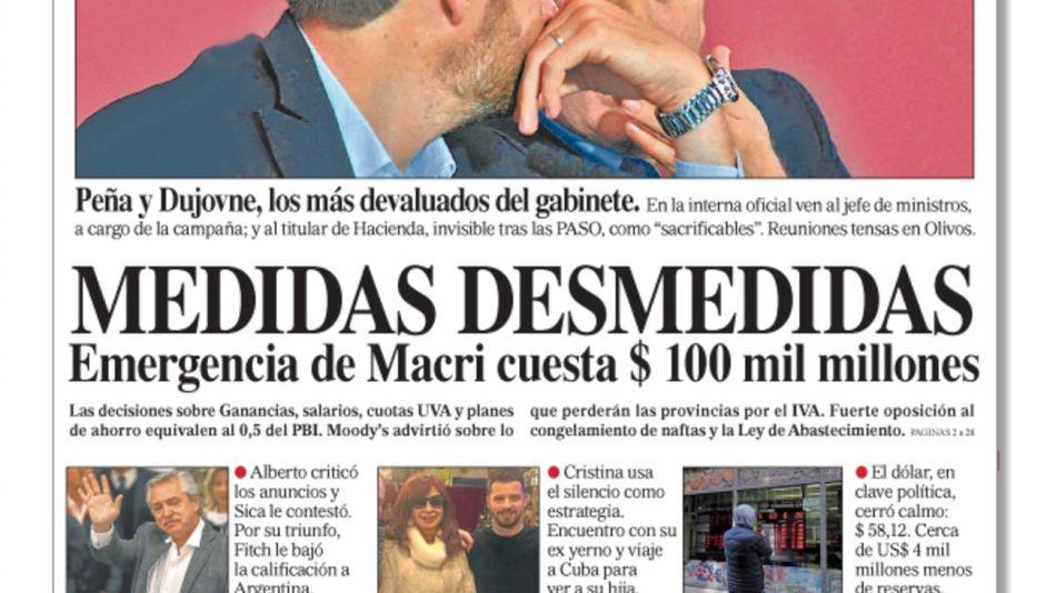 La tapa de Diario PERFIL 20190817