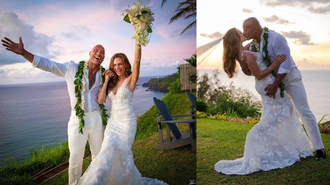 La Roca se casó de sorpresa e hizo una espectacular fiesta en Hawaii