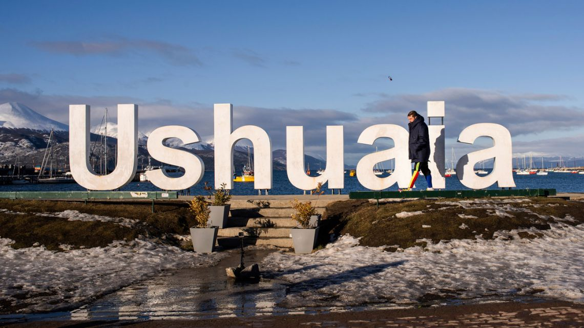 "Venezuelan Yeslie Aranda walks past a sculpture of the name of the world's southernmost city, as he arrives in Ushuaia, Argentina, Saturday, Aug. 17, 2019. The 57-year-old, who lost his left leg in a traffic accident, has walked to the bottom tip of South America, hoping to inspire his compatriots to pursue their dreams despite difficult times. ""I wanted to show people that they can achieve their goals despite their current conditions,"" Aranda said. ""There are many people out there who have forgotten to dream big, even if they have no disabilities."""
