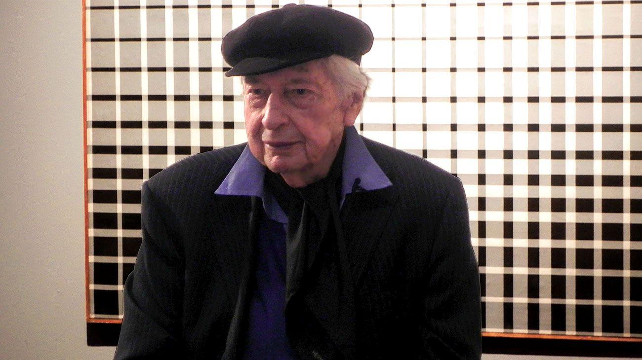 Julio Le Parc durante la presentación de la muestra Transición Buenos Aires - París en el Museo Nacional de Bellas Artes.