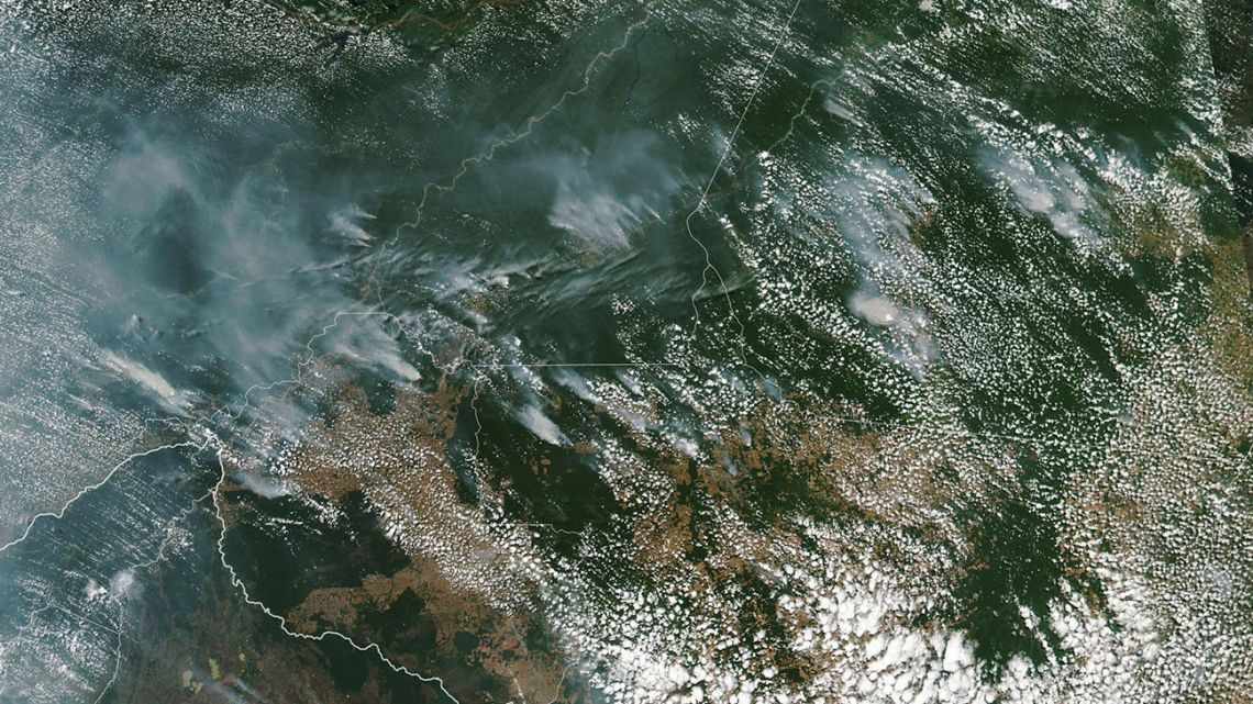 This satellite image provided by NASA on Aug. 13, 2019 shows several fires burning in the Brazilian Amazon forest.