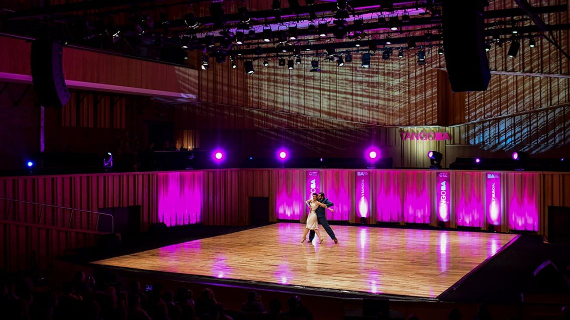 Tango dancers perform during the Tango World Championship in Buenos Aires on August 14, 2019.