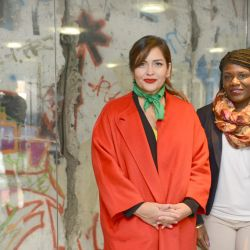 Roza Calderón and Cori Bush, pictured during their visit to the offices of Editorial Perfil SA in Buenos Aires.