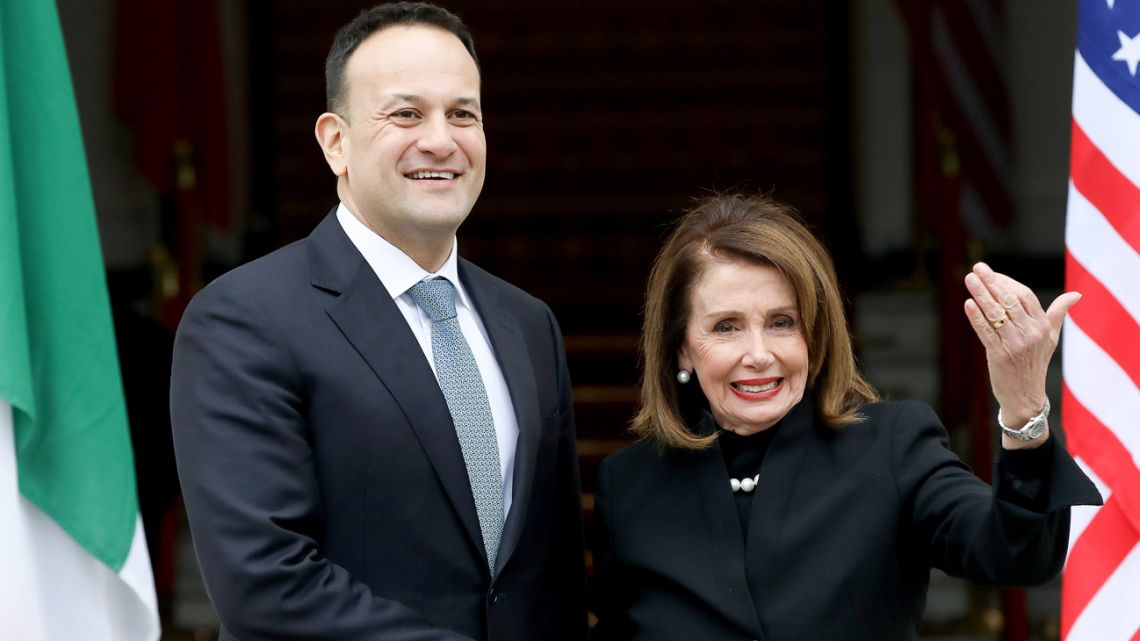 Irish Prime Minister Leo Varadkar (left) greets Speaker of the US House of Representatives Nancy Pelosi (right) at Goverment buildings in Dublin.