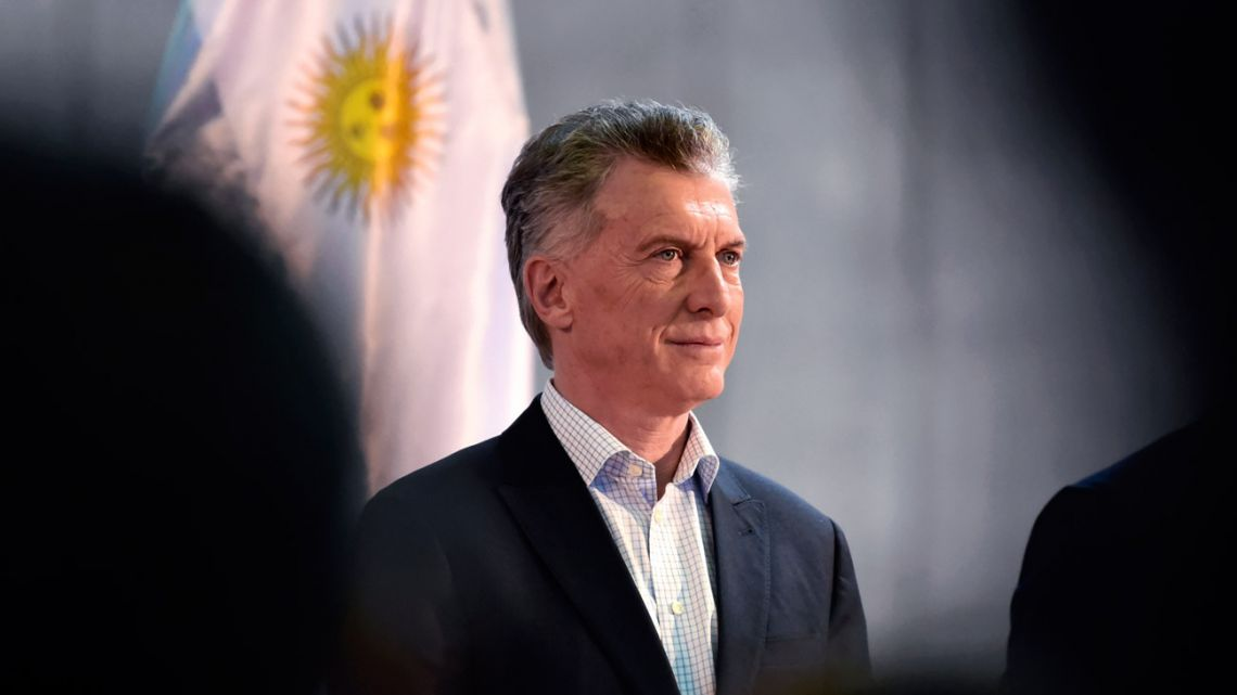 President Mauricio Macri is pictured as he inaugurates the Ayolas-Ituzaigo border crossing across the Parana River through the Yacyreta hydroelectric dam, on August 19, 2019 in Ayolas, Paraguay.