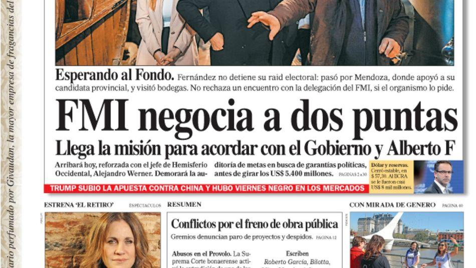 La tapa del Diario PERFIL del sábado 24 de agosto de 2019.