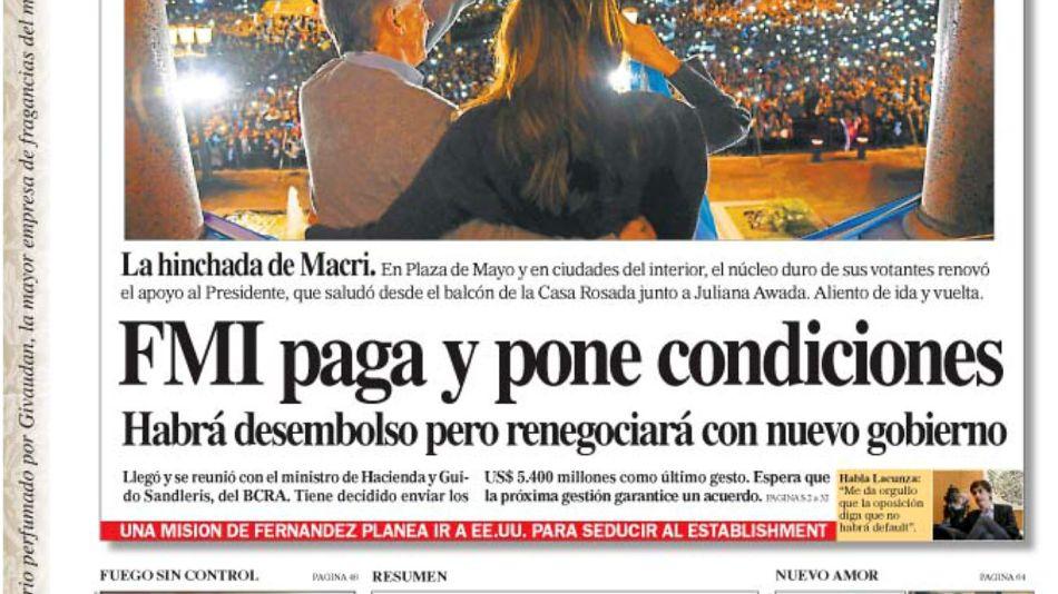 La tapa del Diario PERFIL del domingo 25 de agosto de 2019.