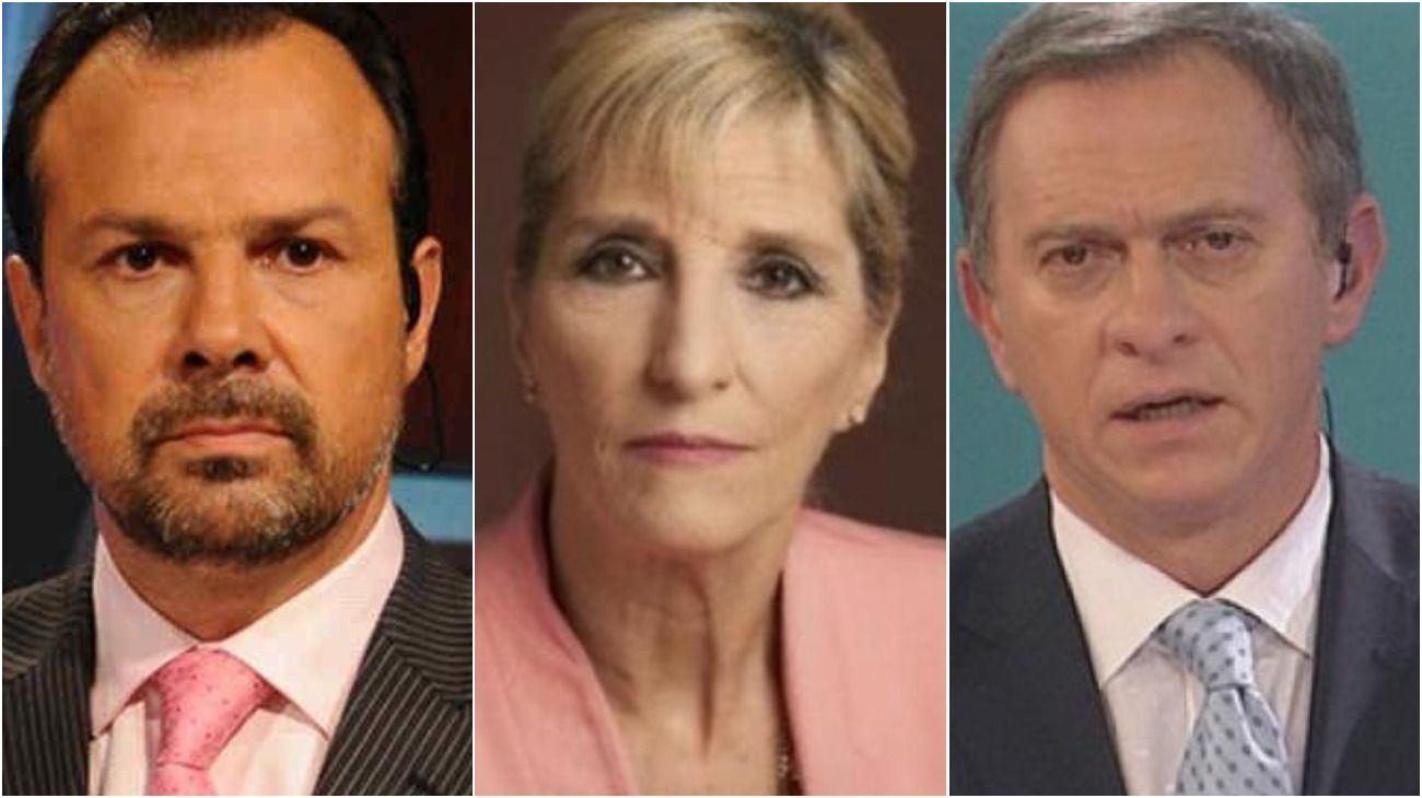 Los periodistas Gustavo Sylvestre, Liliana Franco y Marcelo Bonelli.