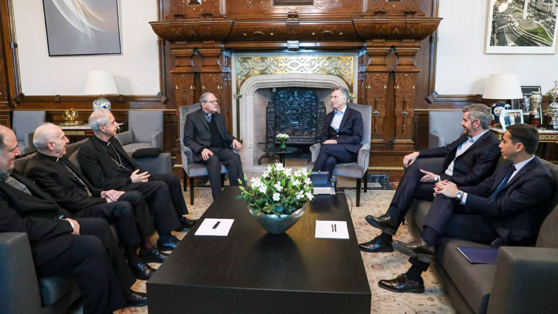 President Mauricio Macri meets with members of the Catholic Church's leadership in Argentina, including Oscar Ojea, Mario Poli and Carlos Malfa, at the Casa Rosada.