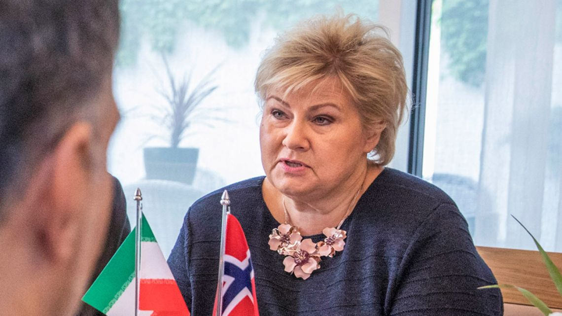 Norway's Prime Minister Erna Solberg in Oslo on August 22, 2019.  Ole BERG-RUSTEN / NTB Scanpix / AFP