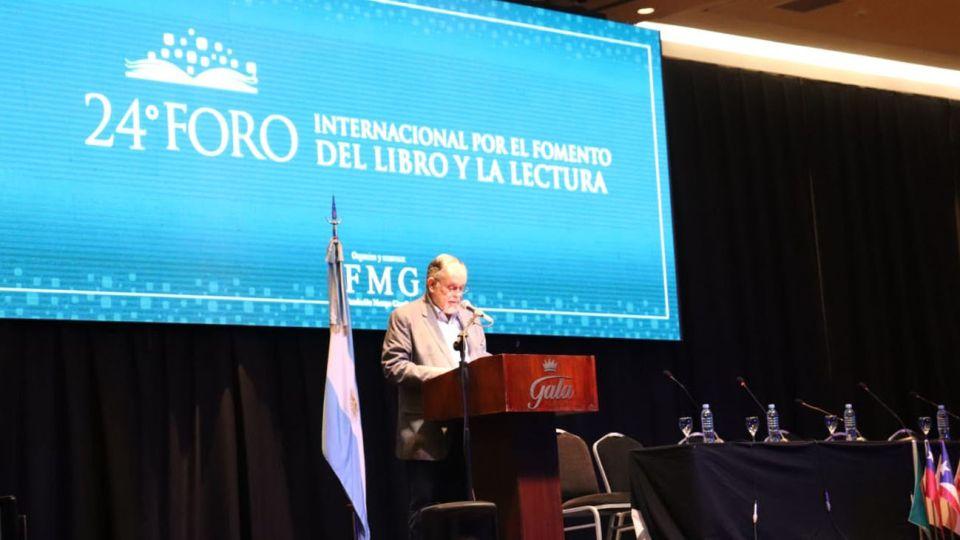 Mempo Giardinelli durante la apertura del Foro Internacional de Lectura de Chaco.