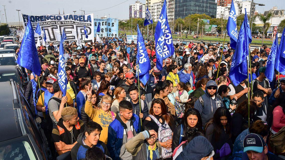 Social movements blockade Av. 9 de Julio during anti-government protest on Aug. 28, 2019.