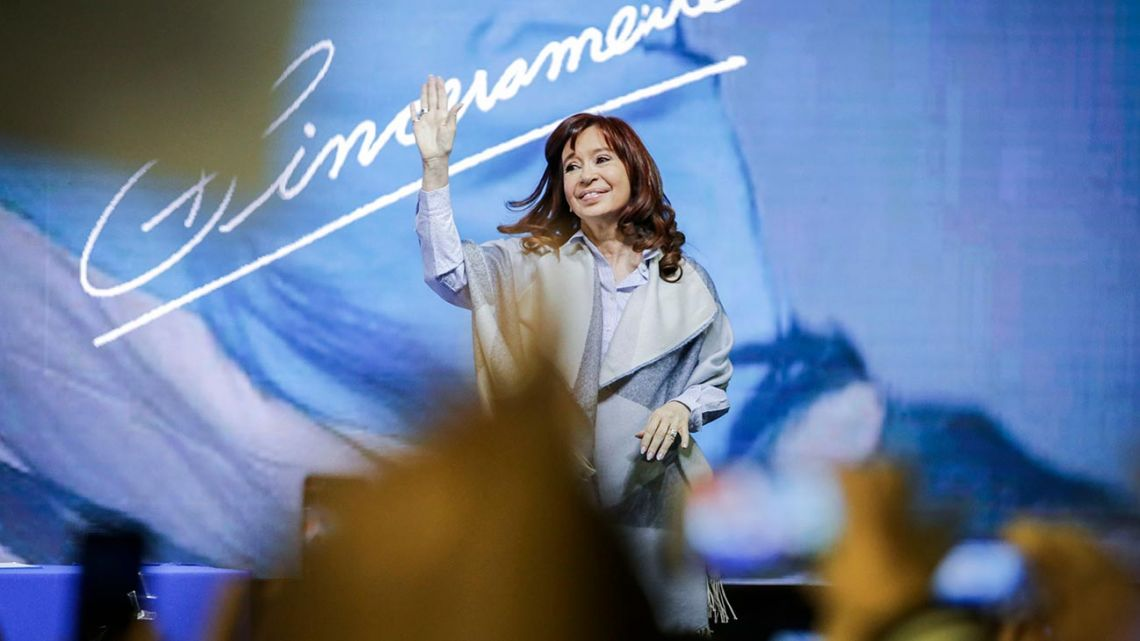 Cristina Fernández de Kirchner, at a previous presentation of her book, Sinceramente, at the DirecTV Arena in Malvinas Argentinas.