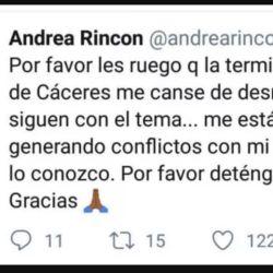 Andrea Rincón borró el mensaje a los pocos minutos