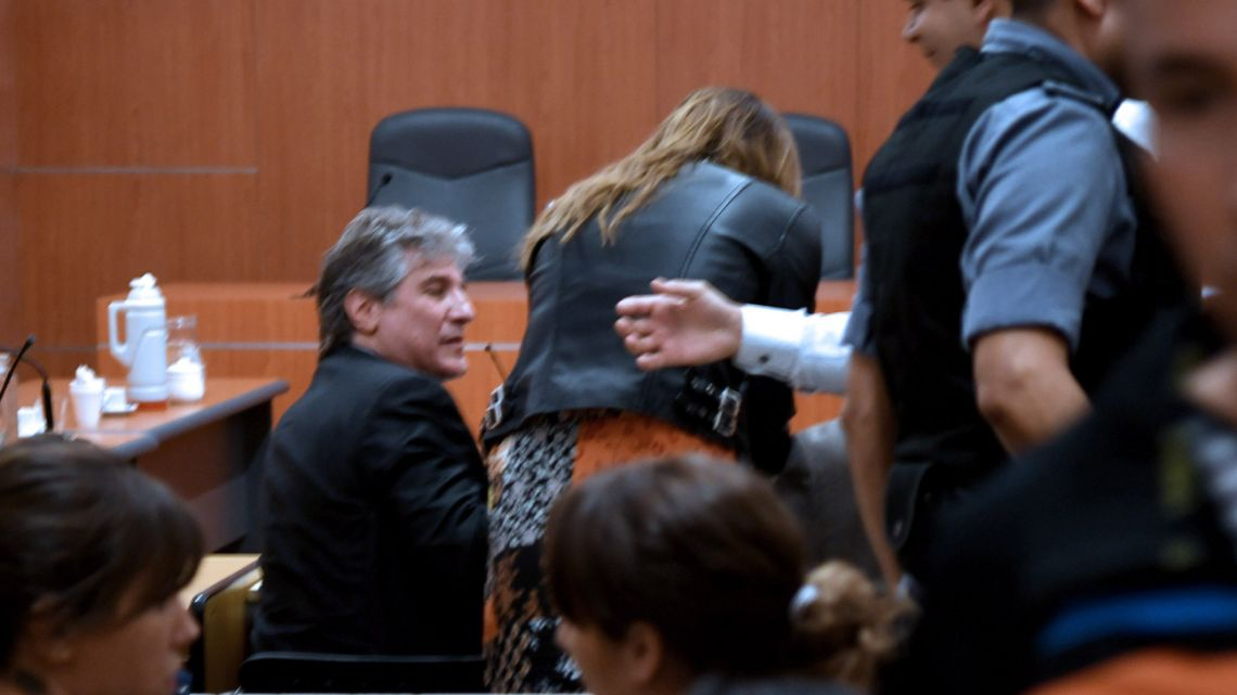 Former vice-president and economy minister Amado Boudou, pictured in court today.