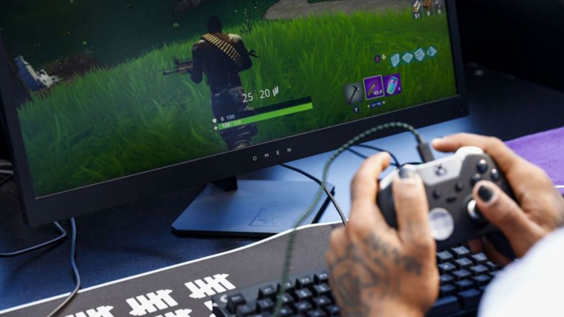 A gamer plays Fortnite, the popular online combat game, at the Fortnite Celebrity Pro Am during the 2018 E3 Electronic Entertainment Expo