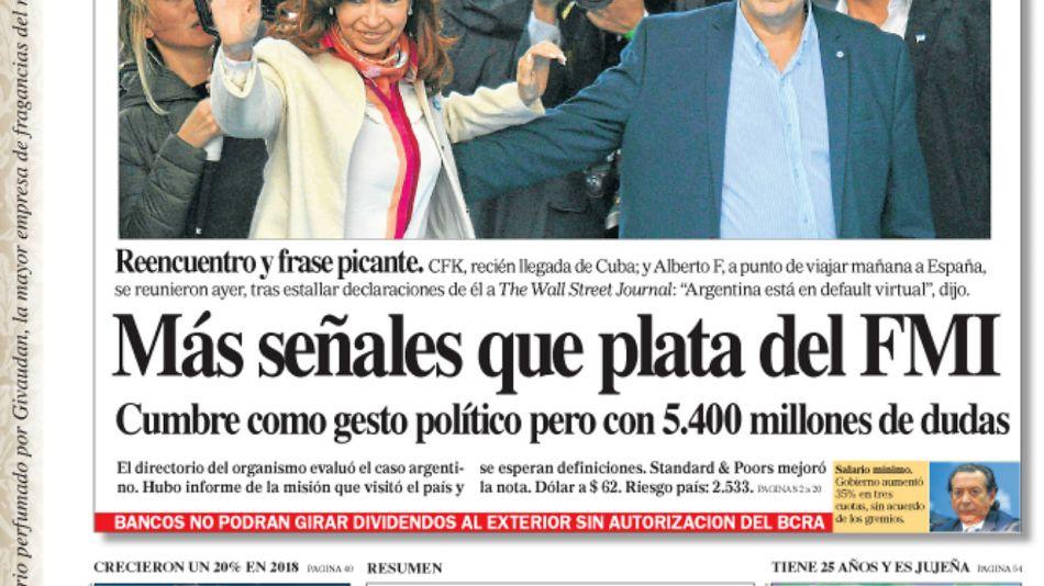 La tapa del Diario PERFIL del sábado 31 de agosto de 2019.
