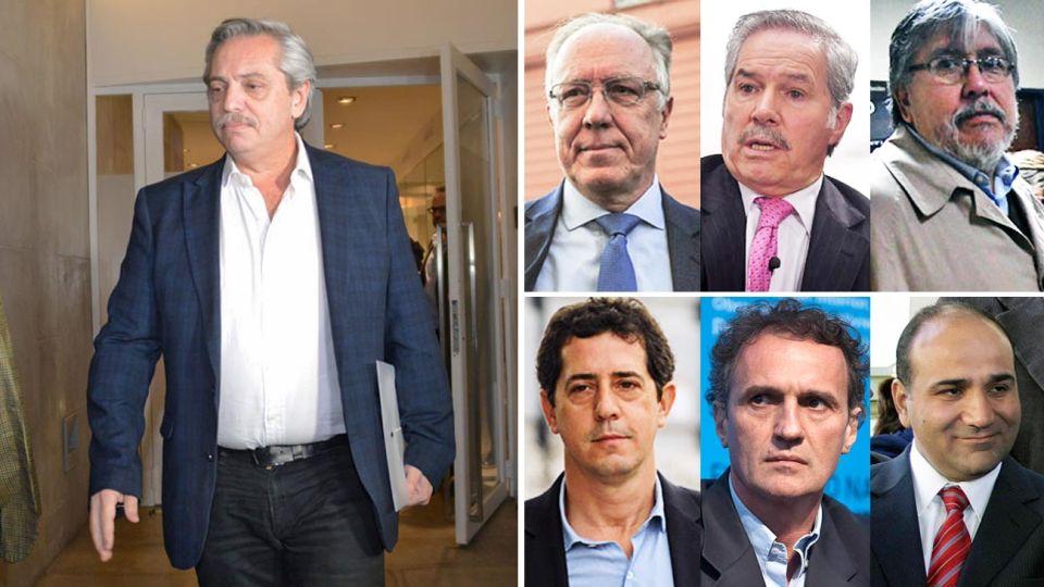Candidato. Es el más confrontativo y su entorno le aconseja moderación. Lo acompañan Nielsen, Solá, Manzur, De Pedro, Katopodis y Navarro.