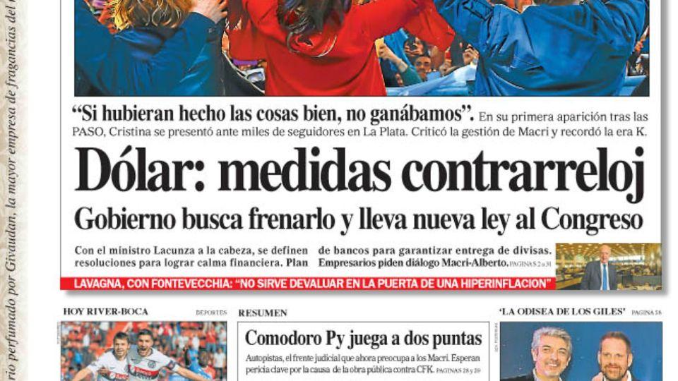 La tapa del Diario PERFIL del domingo 1 de septiembre de 2019.