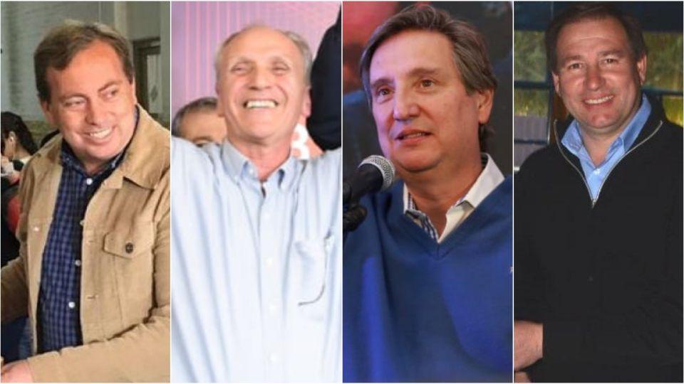 Martín Aveiro, intendente de Tunuyán, Raúl Rufeil, ganador en San Martín, y los jefes comunales reelectos en San Rafael y Lavalle, respectivamente, Emir Félix y Roberto Righi.
