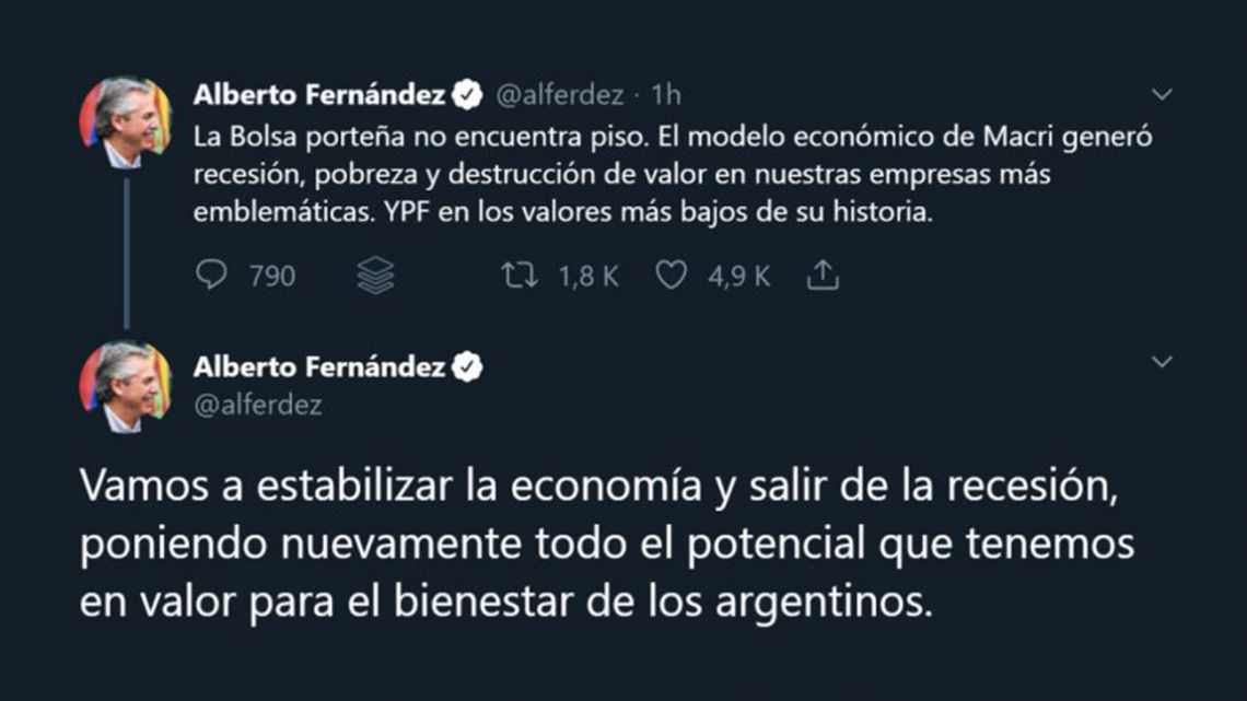 Alberto Fernández tweets sharp criticism of the government's economic policy on September 3, 2019.