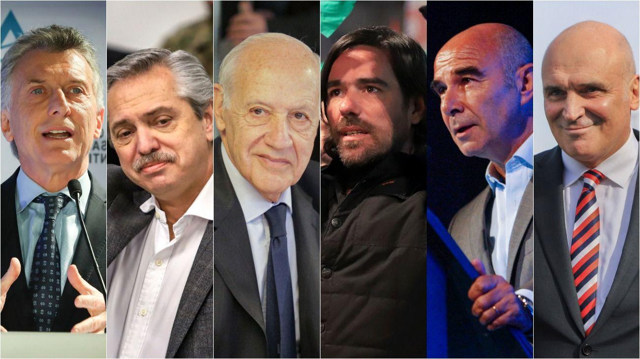 CANDIDATOS. Macri, Fernández, Lavagna, Del Caño, Gómez Centurión y Espert.
