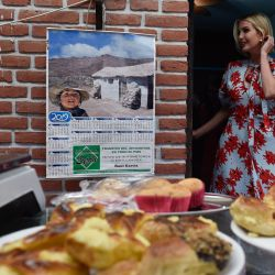 """Ivanka Trump, US President Donald Trump's daughter and White House adviser, visits Graciela Cristina Alcocer's bakery and Etelvina Acevedo's """"Today Pachama"""" clothing shop, as she visits Jujuy Province."""