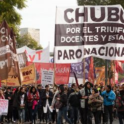 Teachers unions stage a strike in Buenos Aires in support of teachers in Chubut province on September 5, 2019.