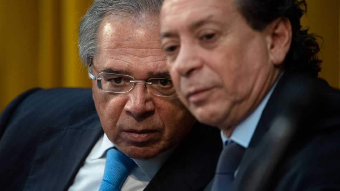 Production and Labour Minister, Dante Sica (right), and Brazil's Economy Minister Paulo Guedes, pictured at apress conference in Rio de Janeiro yesterday.