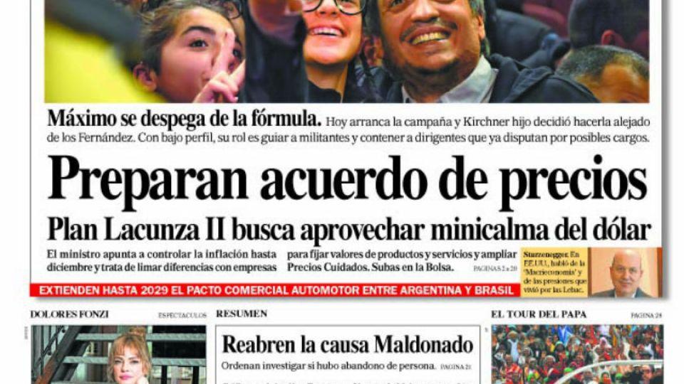 La tapa del Diario Perfil del sábado 7 de septiembre.