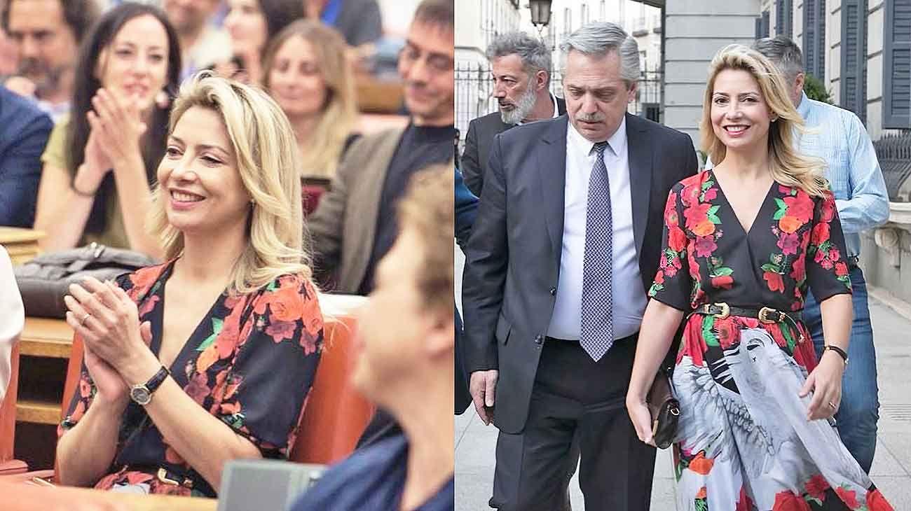 Oyente. Fabiola en medio de los españoles que participaron de una de las charlas de Fernández (izq.). Juntos. Con Alberto, saliendo del Parlamento en Madrid, después de acompañarlo en una charla (der.).