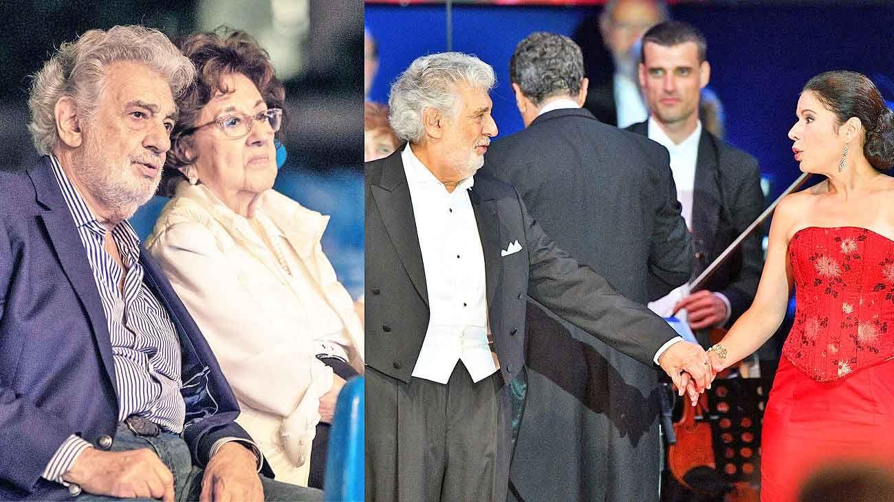 Complicado. Domingo y su esposa, Marta, asistieron al ensayo de su último concierto en Hungría (izq.). Al cierre de ese concierto con la soprano Ana María Martínez.