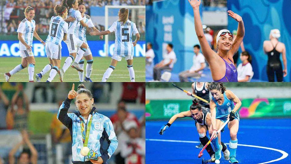 Custodiadas. La selección femenina de fútbol, Pignatiello, Pareto y Las Leonas. Chiqui Tapia, presidente de AFA, y Gerardo Werthein, de COA.