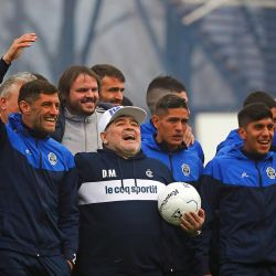 Photos from Diego Maradona's unveiling as the new coach of Club de Gimnasia y Esgrima La Plata.