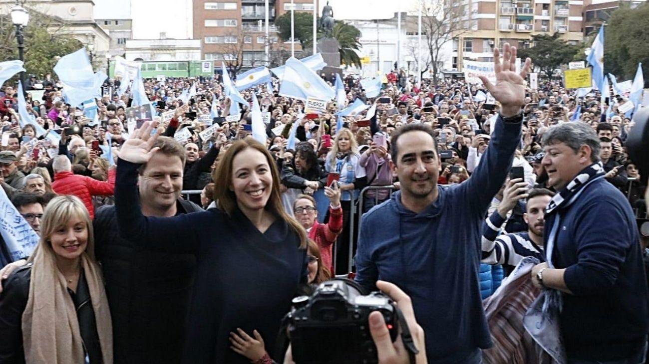 La gobernadora María Eugenia Vidal y su exesposo, el intendente de Morón.