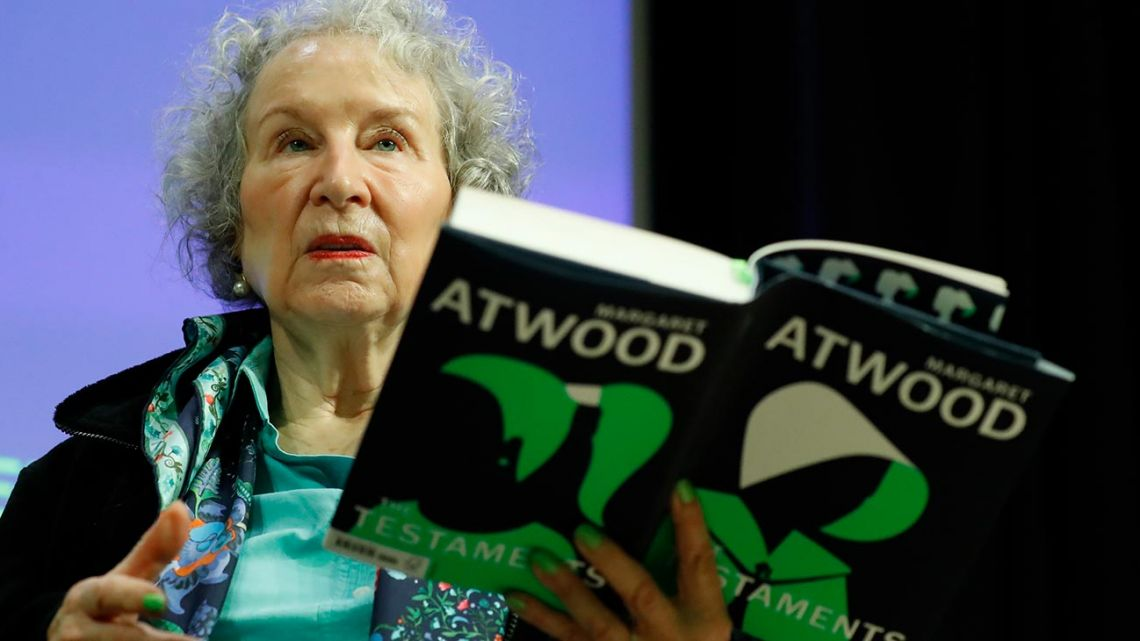 "Canadian author Margaret Atwood gives a press conference following the release of her new book 'The Testaments,' a sequel to the award-winning 1985 novel ""The Handmaid's Tale"" in London on September 10, 2019."