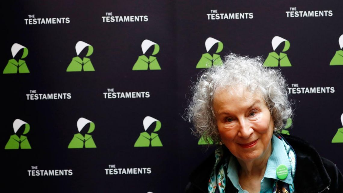 Canadian author Margaret Atwood poses for a photograph during a press conference at the British Library to launch her new book 'The Testaments' in London.