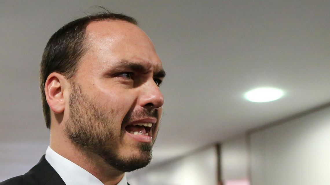In this file photo taken on November 13, 2018, Carlos Bolsonaro, son of Brazil's President-elect Jair Bolsonaro, is pictured during his visit to the Superior Court of Labour in Brasilia.