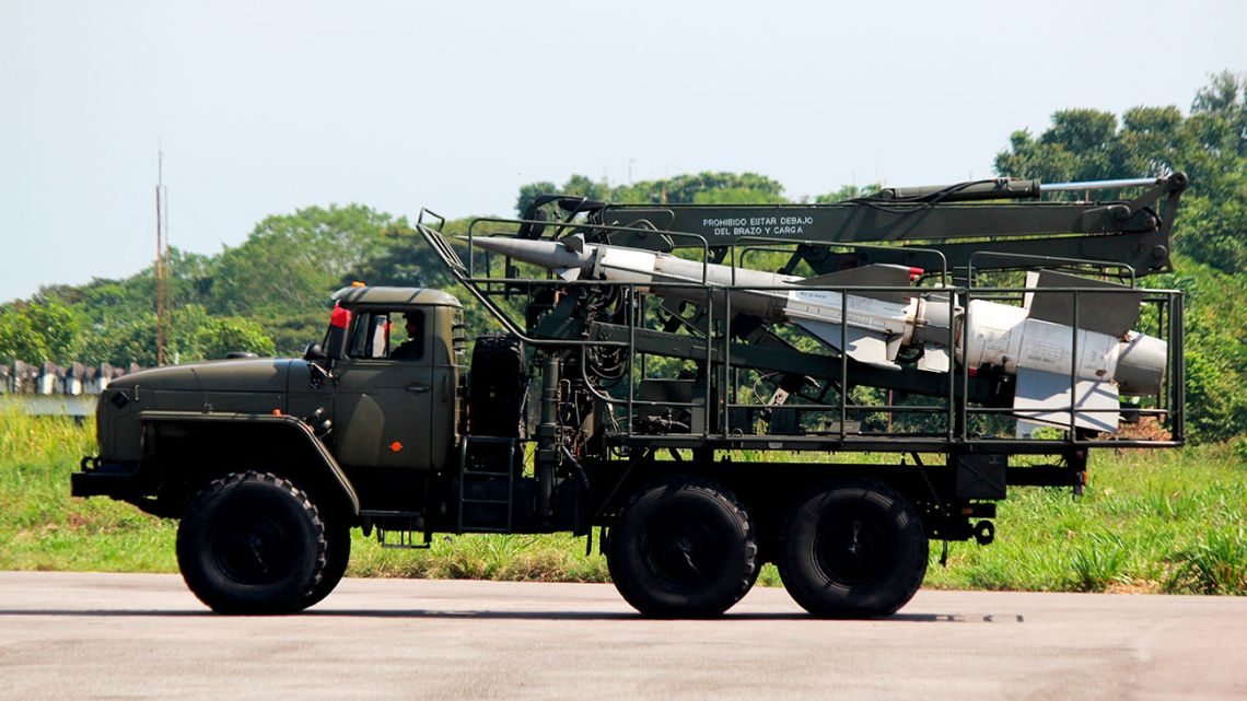A truck carrying a missile participates in a military exercise at the Garcia Hevia airport in La Fria in the State of Tachira, Venezuela, Tuesday, Sept 10, 2019.