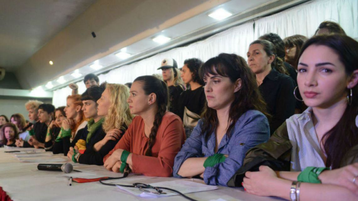 Members of the NGO Actrices Argentinas speak at a press conference to announce a new accusation of sexual harassment.
