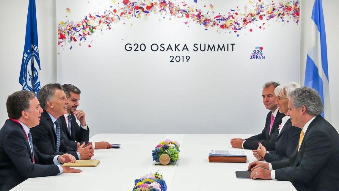 Government officials including President Mauricio Macri meet with IMF executives at a recent G20 summit.