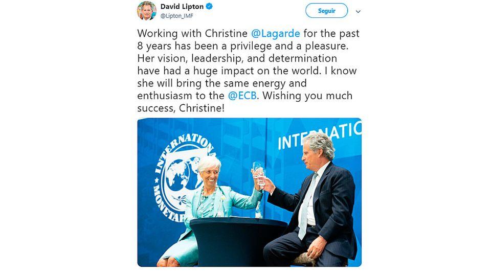 SALIDA Y DUDAS. Lipton saludó a Lagarde. El FT, cauto con AF.