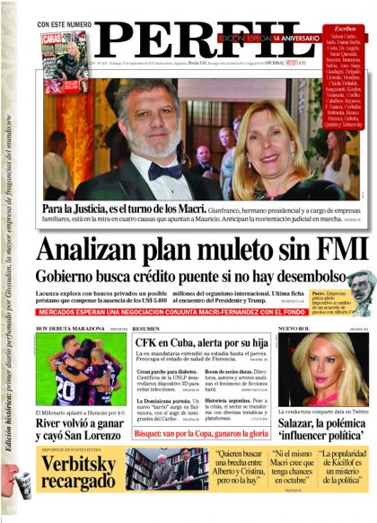 La tapa de la edición del Diario PERFIL del domingo 15 de septiembre de 2019.