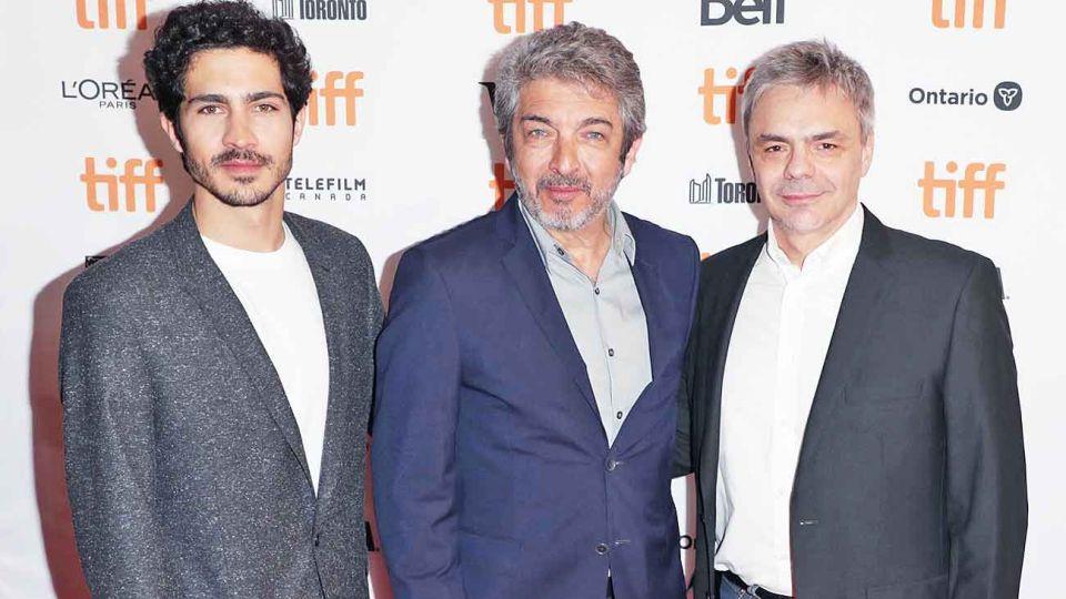 Tridente. El Chino y Ricardo Darín, productores y actores, con el director Sebastián Borensztein.