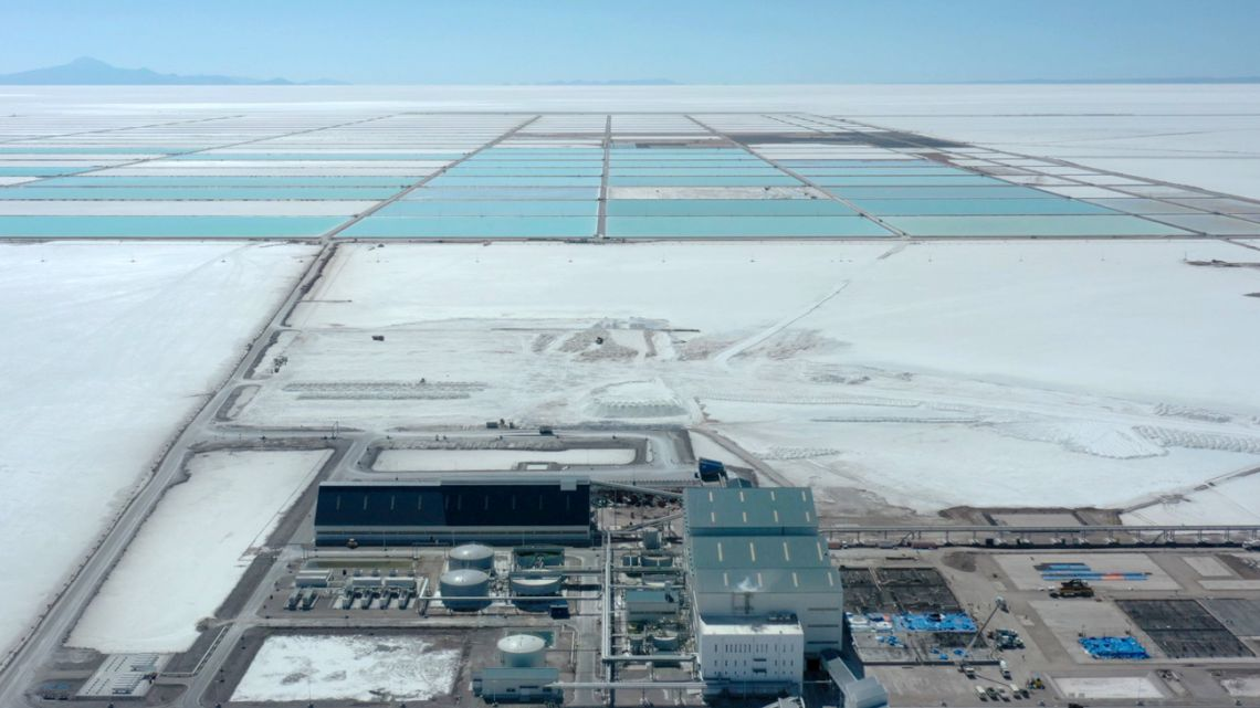 Aerial view of the new state-owned lithium extraction complex, in the southern zone of the Uyuni Salt Flat, Bolivia, on July 10, 2019.