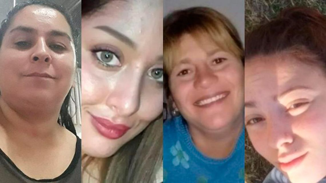 Four femicides were recorded over the past weekend. From left to right: Vanesa Caro, Laura Cielo López, Cecilia Burgadt and Navila Garay.