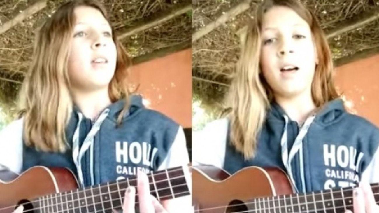 María Clarisa Vogt tiene 12 años e interpretó un tema en homenaje a Navila Garay, la adolescente asesinada en Chascomús.